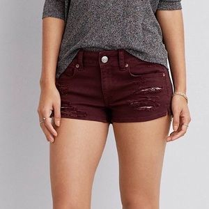 American Eagle Outfitters Burgandy Shortie Shorts
